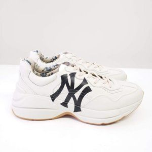 Gucci Low-Top NY Yankees Rhyton Calfskin - White